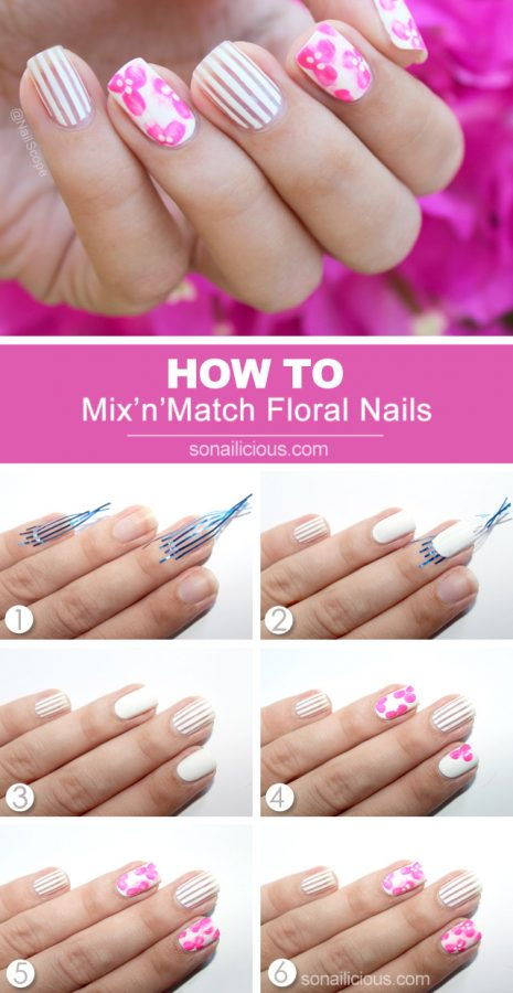 Pink Floral nail art tutorial bmodish