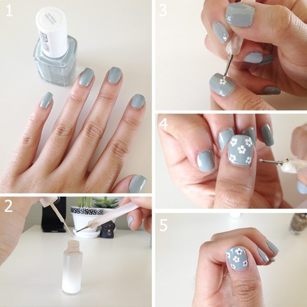 15 easy to follow flower nail art tutorials be modish simple flower nail art 4 bmodish prinsesfo Gallery