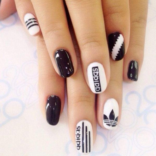 adidas logo nail art bmodish