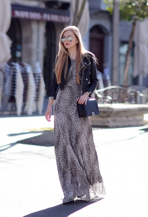 animal print maxi dress with leather jacket bmodish