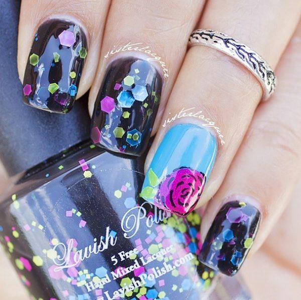 black and rose nail art bmodish