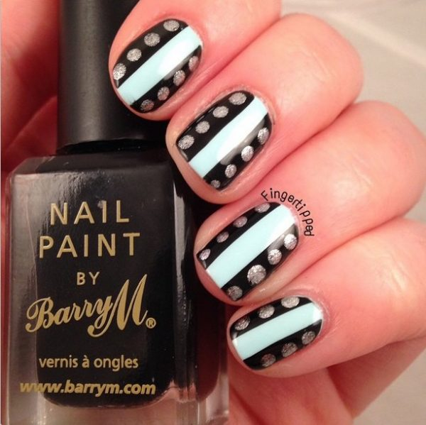 black, silver and white simple nail art bmodish