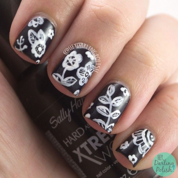 black white flowers nail art bmodish