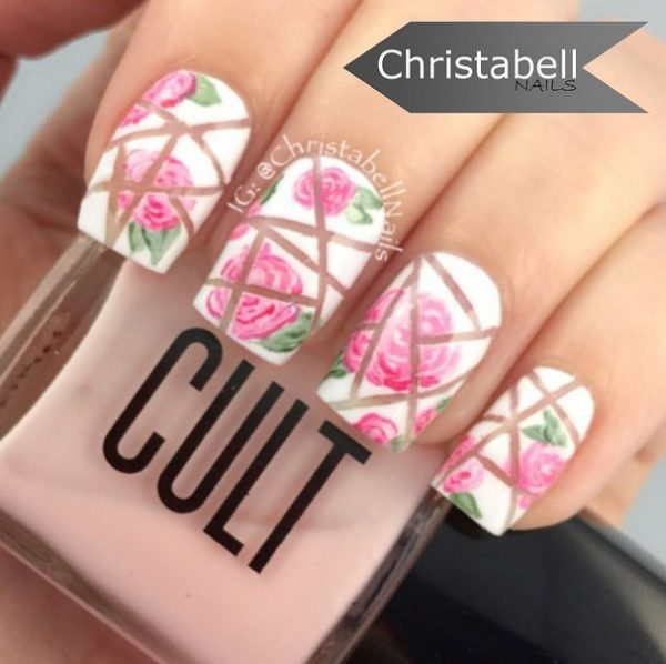 broken rose nail art bmodish