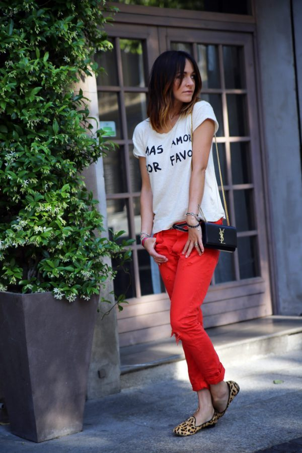 casual red pants with leopard flats bmodish