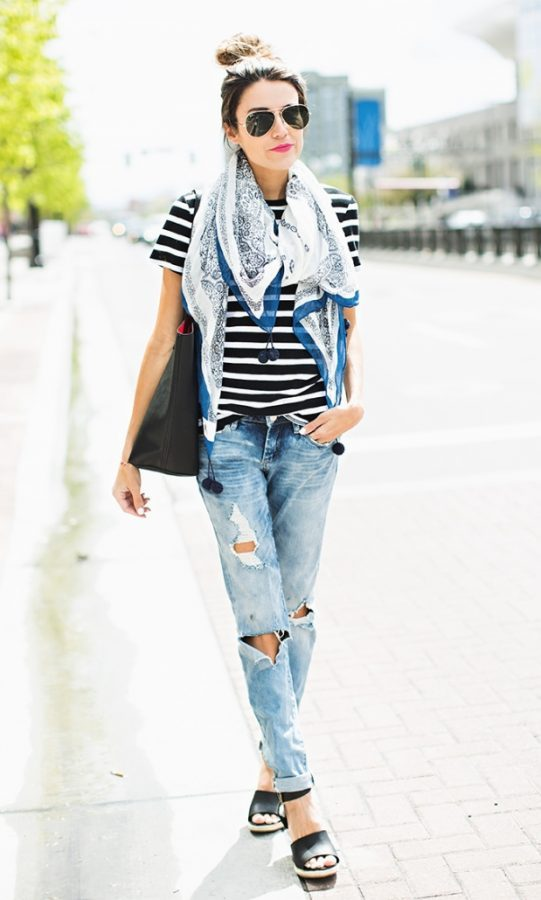 casual stripes t shirt outfit for spring summer bmodish