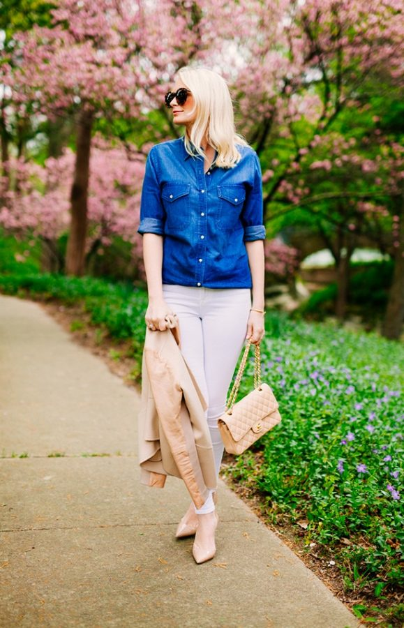 chambray shirt with white jeans outfit