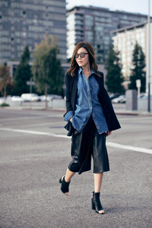 chambray shirt with blazer and culottes bmodish