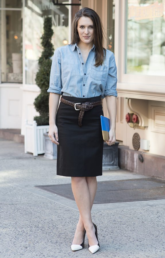 chambray shirt with pencil skirt bmodish