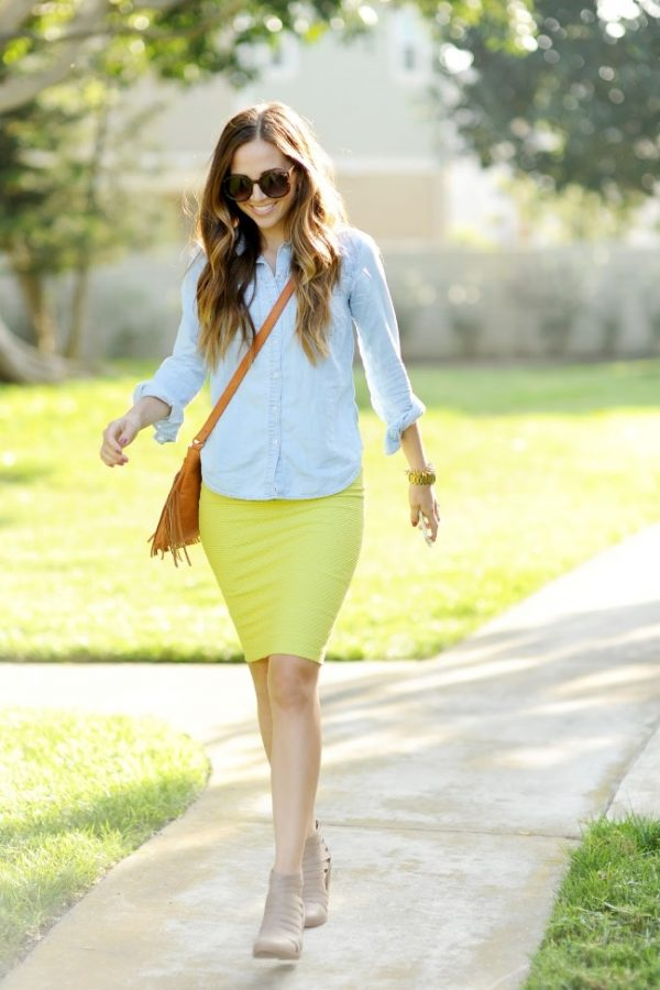 chambray shirt with yellow pencil skirt bmodish