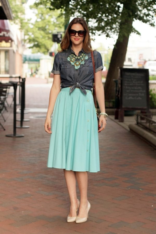 chambray with mint skirt bmodish