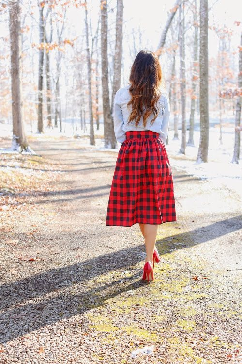 chambray with tartan skirt bmodish
