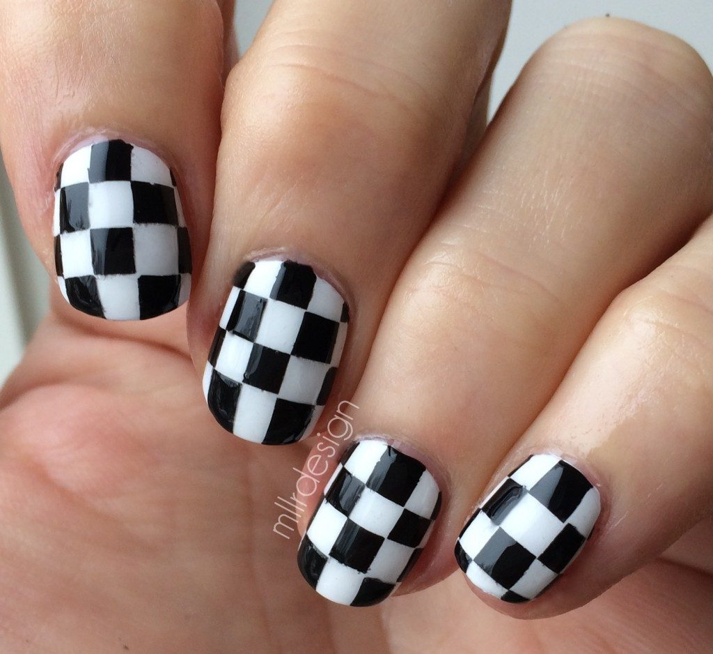 checkered nail art bmodish