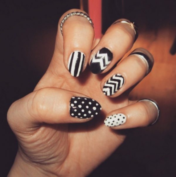 chevron and polka dots nail art bmodish