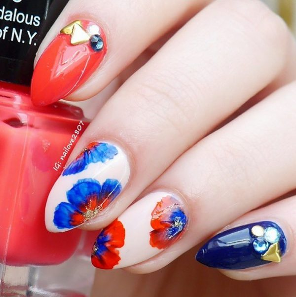 coral and navy spring nails bmodish