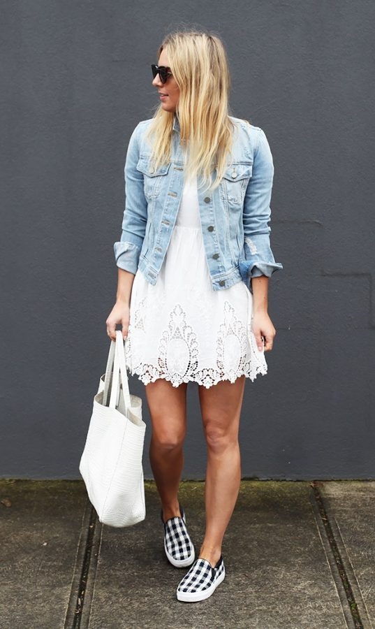 cute dress with denim jacket for spring bmodish