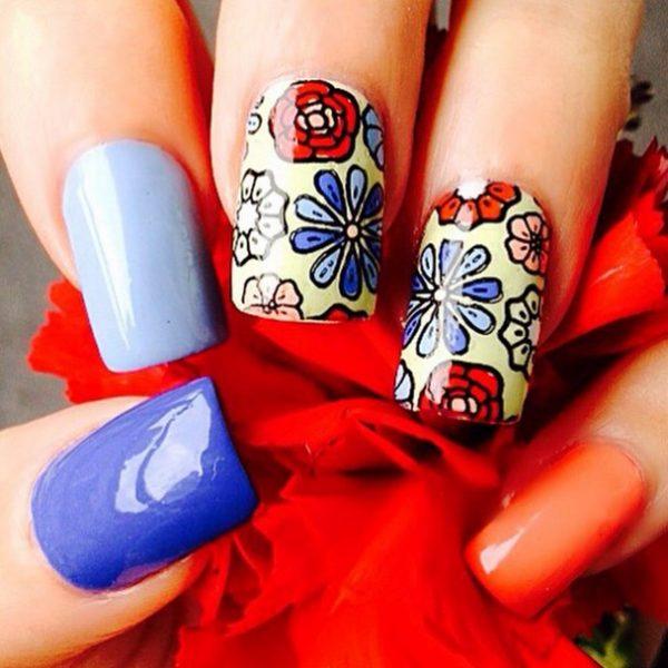 cute floral stamping nail art bmodish