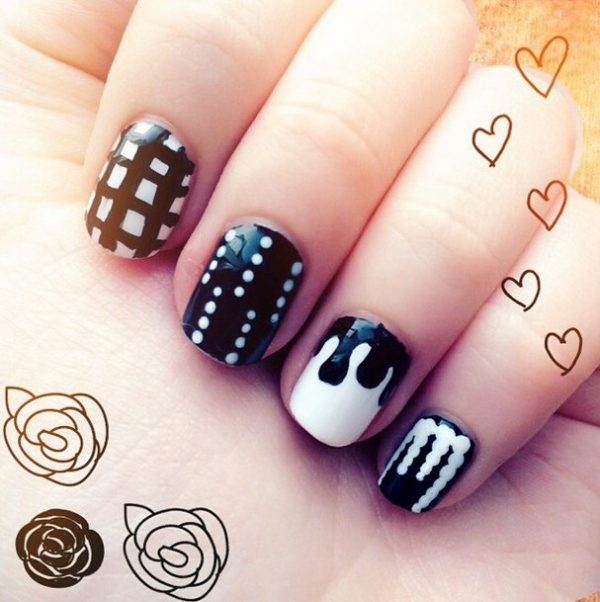cute mix black white nail design bmodish