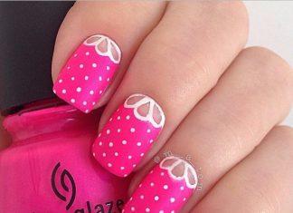 pink half moon spring nail art design