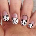 cute black and white panda nail art