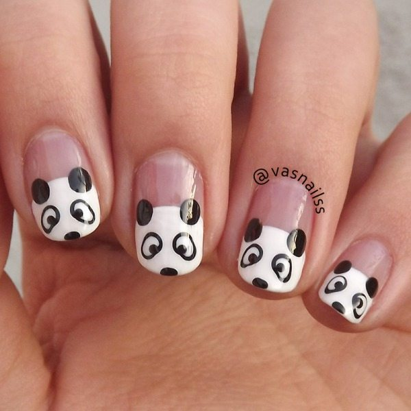 cute black and white panda nail art - 30 Super Creative Black And White Nail Art Designs - Be Modish