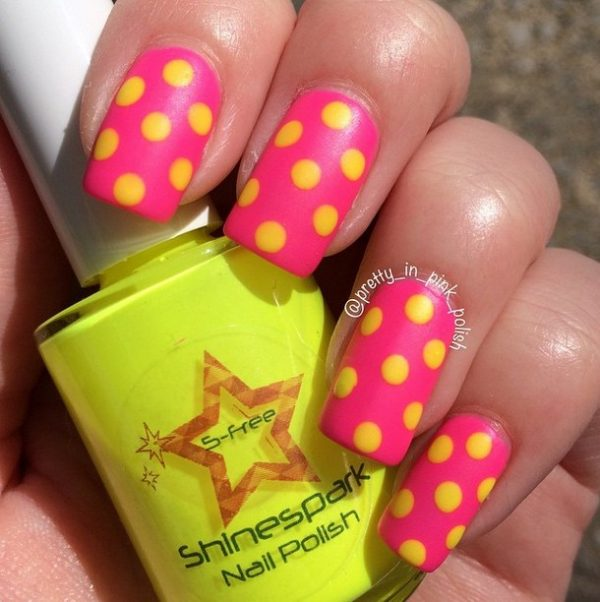 cute polka dot nail art bmodish