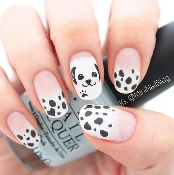 cute puppy black white nails bmodish