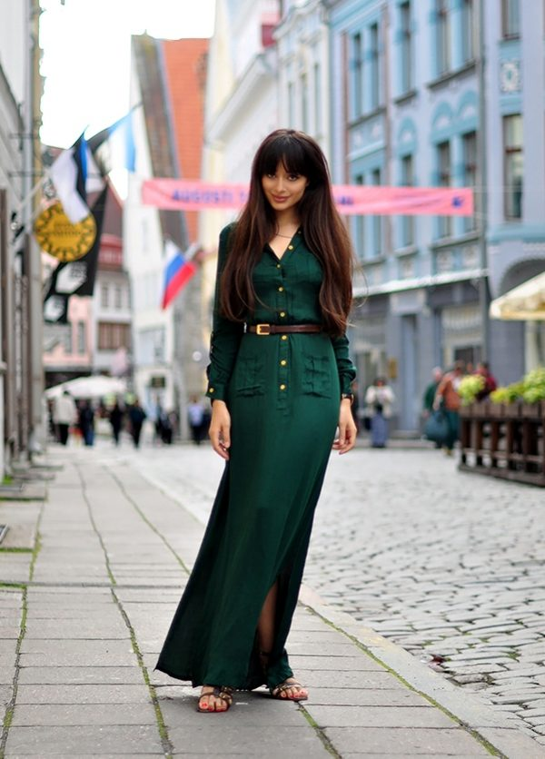 dark green maxi dress bmodish