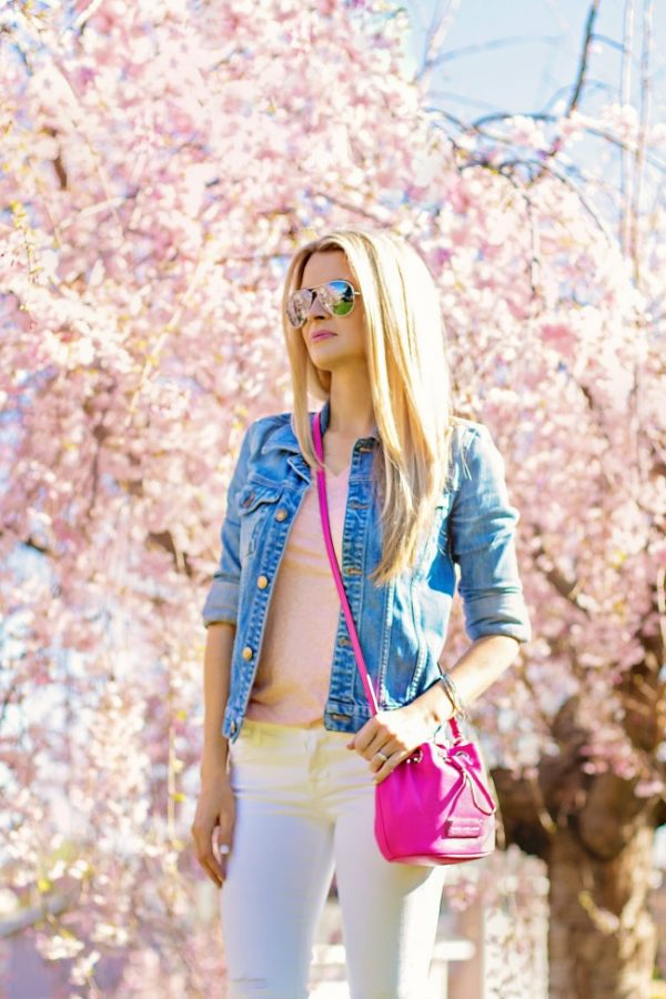denim jacket, pink basic and white jeans bmodish
