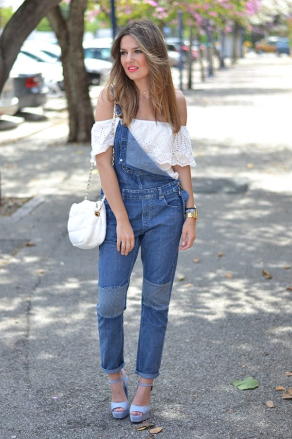denim overall and off the shoulder bmodish