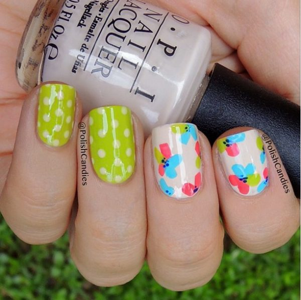 dots and flower nail art bmodish