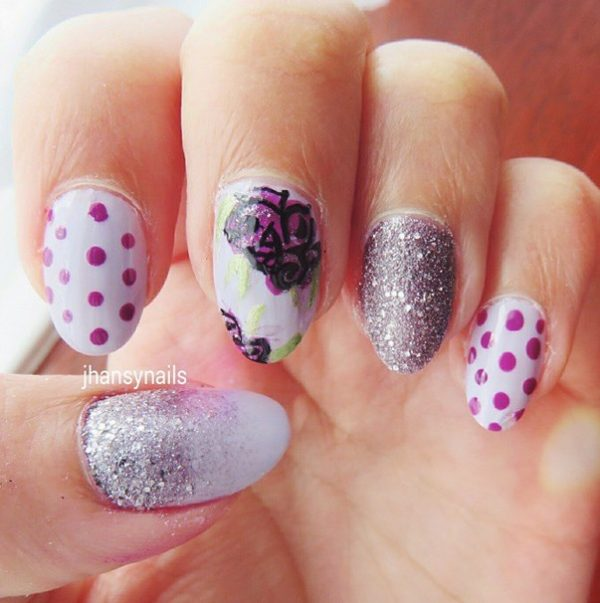 dots, glitter and flower nails bmodish