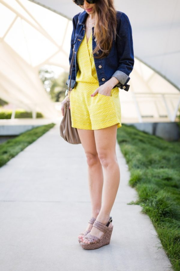 yellow romper with denim jacket spring outfit bmodish