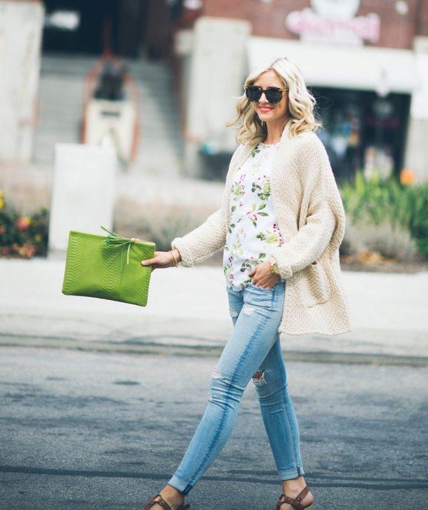 short sleeve blouse with kimono cardigan spring outfit bmodish