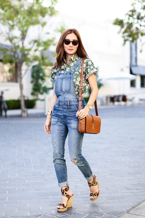 floral blouse with skinny overall bmodish
