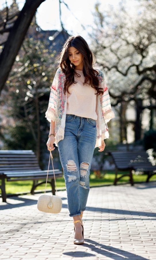 floral fringe kimono cute spring outfit bmodish