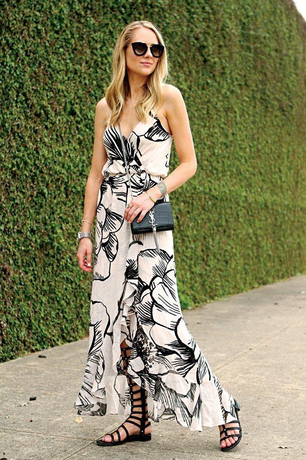 floral maxi dress with gladiator sandals bmodish