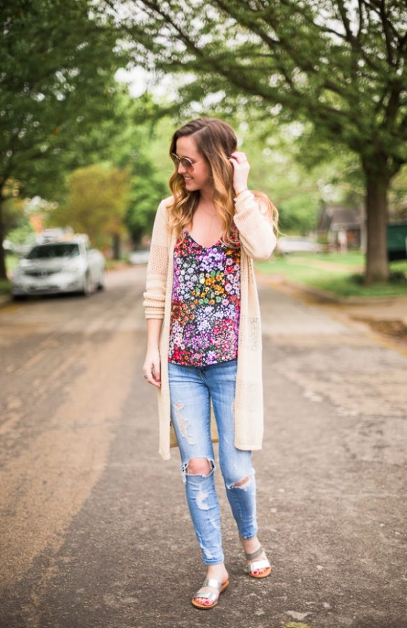 floral top with cardigan spring outfit bmodish