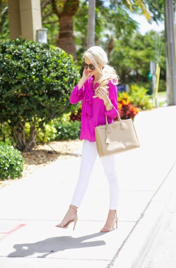 fuchsia blouse cute spring style bmodish