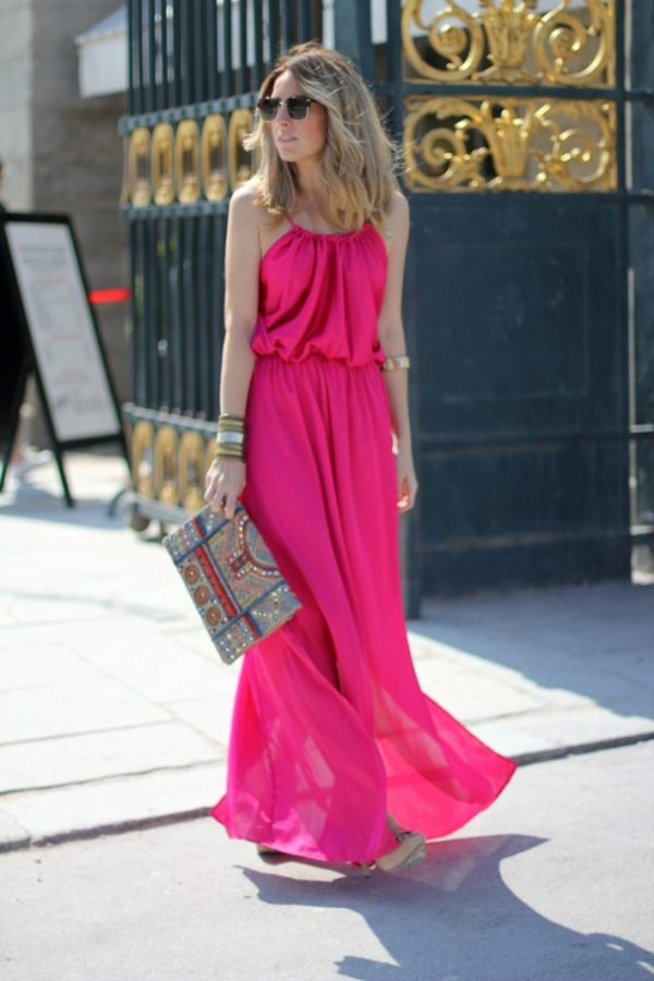 fuchsia maxi dress paris bmodish