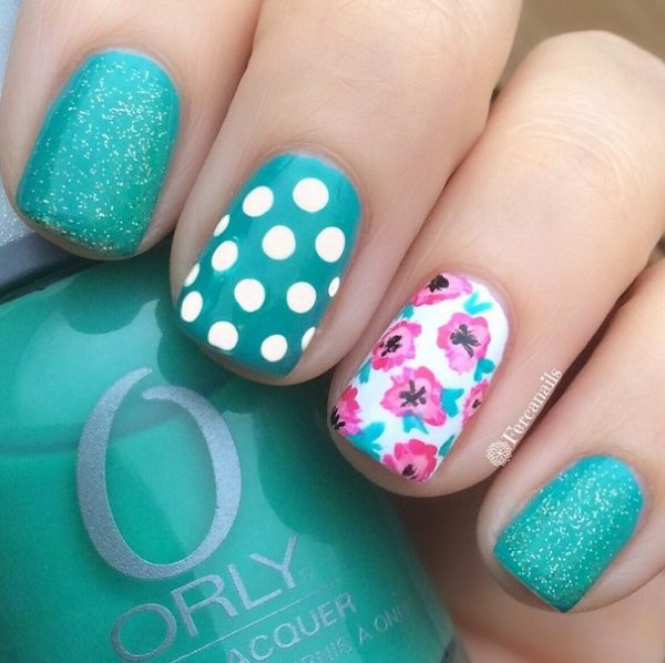 glitter, dots and floral nails bmodish