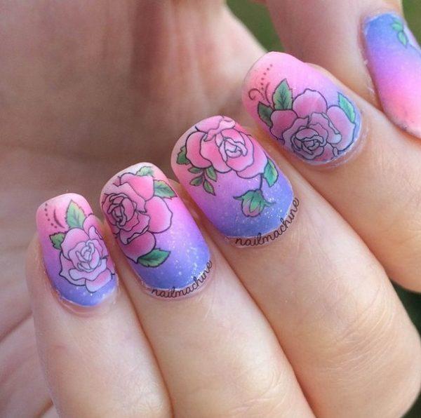 gradient rose nails bmodish