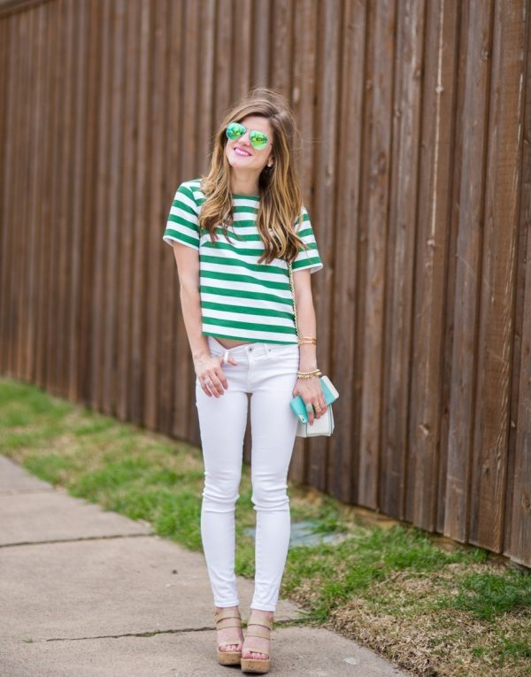 green stripes t shirt casual spring style bmodish