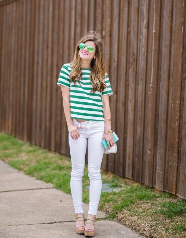 green stripes t shirt casual spring style bmodish