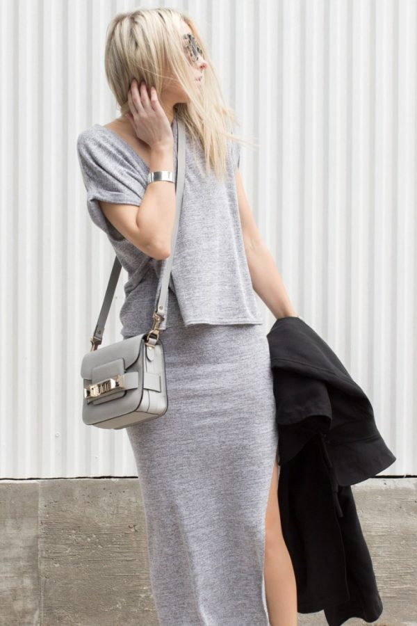 grey outfit and long coat bmodish