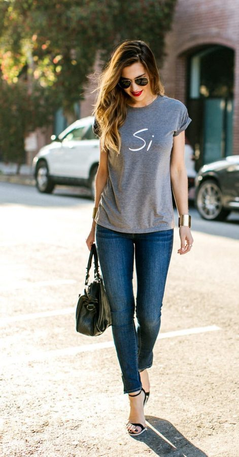 grey basic t shirt with skinny jeans bmodish