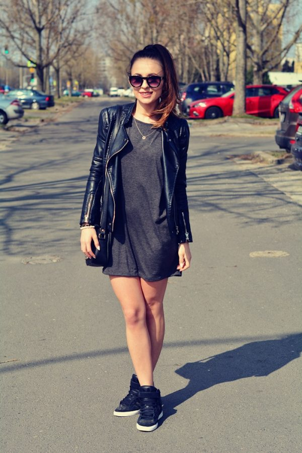 grey casual dress with biker jacket and sneakers bmodish