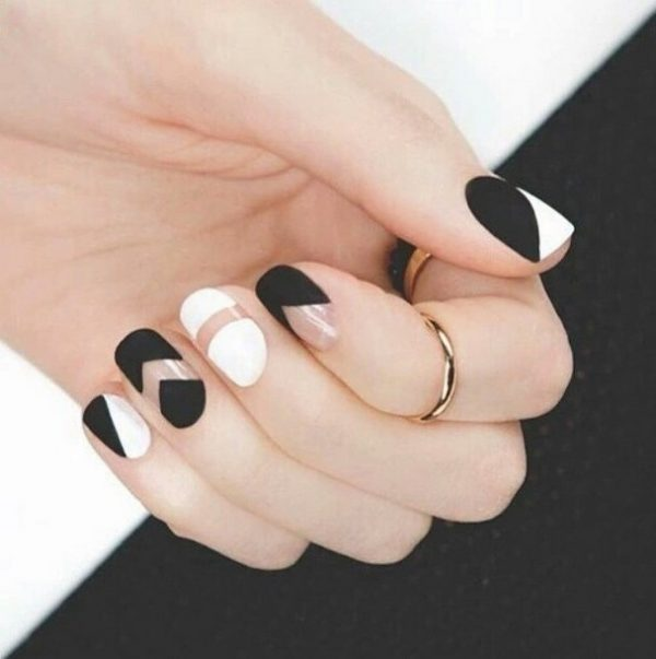 matte black and white nails bmodish