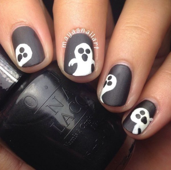 matte ghost black white nails bmodish
