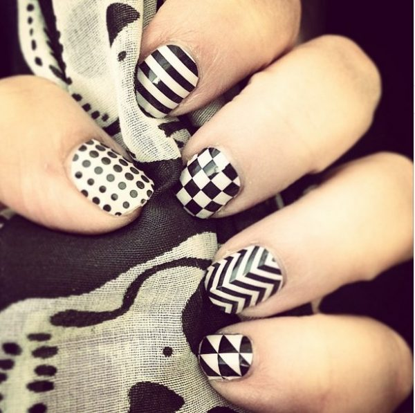 mix pattern black white nail art bmodish